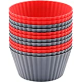 Mirenlife 12 Pack Reusable Nonstick Jumbo Silicone Baking Cups, Cupcake and Muffin Liners, 3.8 Inch Large Size, in Storage Co