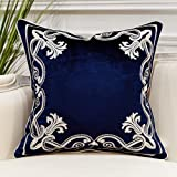 Avigers European Cushion Covers Luxury Velvet Home Decorative Embroidery Petunias Pillow Cases Pillowcase for Sofa Chair Bedr