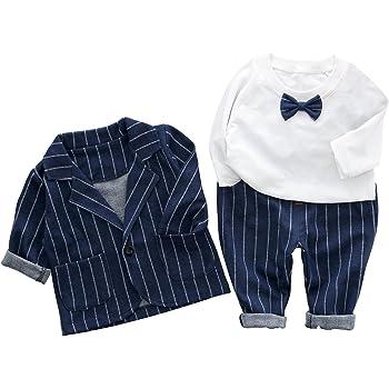 c89155234ae1d Cloudkids ベビー キッズ フォーマル スーツ 長袖 シャツ ジャケット ズボン 3点セット 子供服 赤ちゃん 男の子 洋服 紳士服 結婚式  入園式 (80cm