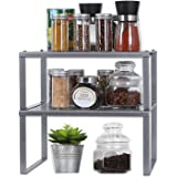 NEX Kitchen Shelf Organizer for Cabinet Counter Cupboard Pantry, Stackable & Expandable, Dark Silver