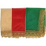Set of 3 Chunari Decorative Cloth Puja Chunni Chunar (Size :- 12 Inches x 20 Inches) Aasan Mat for Statue Frame Idol Temple (