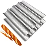 Fasmov 2 Pack French Bread Baking Pan Nonstick Perforated Baguette Pan 4 Wave Loaves Loaf Bake Mold Toast Cooking Bakers Mold
