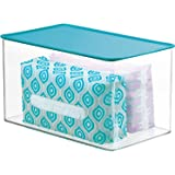 mDesign Stackable Bathroom Storage Box with Lid - Container for Organizing Hand Soaps, Body Wash, Shampoos, Conditioners, Han