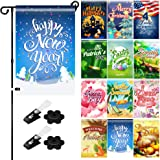 QSUM Seasonal Garden Flag Set of 12,Ultra Premium 12 x 18 inches Double Sided Yard Flag for All Seasons Lawn Decorations,Incl