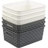 Uumitty Plastic Storage Basket for Kitchen Office Bathroom Bedroom Classroom, White and Grey, 6 Packs