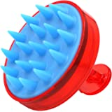 KAYZI Shampoo brush scalp massager, scalp exfoliating brush with soft silicone head, suitable for all hair types (Red)