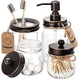 AOZITA Mason Jar Bathroom Accessories Set 4 - Oil Rubbed Bronze - Mason Jar Soap Dispenser & 2 Apothecary Jars & Toothbrush H
