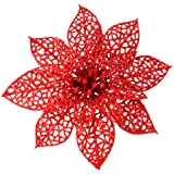 "SUPLA 24 Pack Christmas Red Glitter Poinsettia Flowers Picks Christmas Tree Ornaments 5.9"" Wide for Red Christmas Tree Wreath"