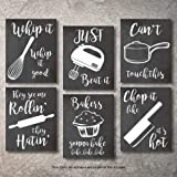 Home Decor Funny Gift 6 Kitchen Wall Art Prints Kitchenware with Sayings Unframed Farmhouse Home Office Organization Signs Ba