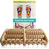 TheraFlow Large Dual Foot Massager Roller - Plantar Fasciitis, Heel, Arch Pain Relief -Enhanced Model 2019- Laminated Foot Ch