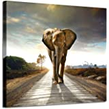 Animals Canvas Art Wall Decor - Copyright Licensed Image with high Resolution Definition Print on Canvas, Canvas;Wood, Elepha
