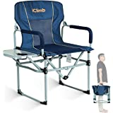 iClimb Heavy Duty Compact Camping Folding Mesh Chair with Side Table and Handle (Navy)
