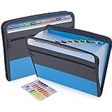 Sooez Expanding File Folder with Sticky Labels, 13 Pocket Accordion File Folder Document Organizer Expanding Zip File Folder