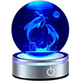 "3D Dolphin Crystal Ball Figurine Lamps 80mm 3.15"" Laser Engraved Porpoise Model Anniversary Night Light Gift for Kids Birthda"