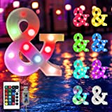 Oycbuzo 16 Color Changing Marquee Letter Light,Light Up Colorful 26 Alphabet Signs- Battery Operated LED Remote Timer - Home