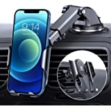DesertWest Upgraded Car Phone Holder Mount [Auto-Memory Clamp] Hands-Free Cell Phone Holder for Car Dashboard Windshield Vent
