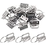 Swpeet 20Pcs Sliver 1 Inch Key Fob Hardware with Key Rings Sets, Perfect for Bag Wristlets with Fabric/Ribbon/Webbing/Embosse