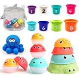 MoraBaby Baby Bath Stacking Toys, 8 Stacking Cup Toys, 4 Stack Up Squirts Animal Balls and 1 Floating Blue Octopus with Organ