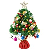 bestwishes Pre-lit Artificial Mini Christmas Tree 24Inch Small Christmas Tree with 50 LED Small Lights and Cloth Bag Base for