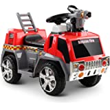 RIGO Kids Ride On Car Fire Truck Toy Car-Red and Grey
