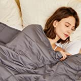 Hiseeme Cool Weighted Blanket (48''x72'', 17lbs, 100% Cotton Fabric, Dark Grey) Kids, Adults | Full Sized/Queen Size Bed