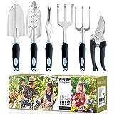 wanyi Garden Tool Set, 6-Piece Aluminum Lightweight Gardening kit with Soft Rubber Anti-Skid Ergonomic Handle, Garden Gift ki