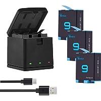 Vemico GoPro Hero 9/Hero 10 バッテリー 充電器セット 3*1800mAh ゴープロ予備バッテ…