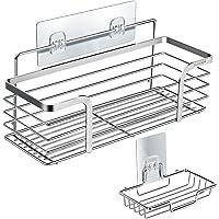 シャワーラック+石けん皿 キッチンラック 浴室用ラックTOPOOMY 強力粘着 シャンプーバスルームラック バスラック…