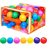 Vanland 100 Ball Pit Balls for Baby and Toddler Phthalate Free BPA Free Crush Proof Plastic - 7 Bright Colors in Reusable Pla