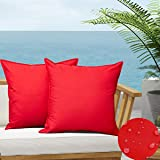 SOFJAGETQ Pack of 2 Outdoor Waterproof Throw Pillow Covers Durable Vibrant Decorative Cushion Shem for Patio Funiture, Garden
