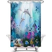 LB 海底世界 動物柄 シャワーカーテン イルカたちと珊瑚 バスカーテン カラフル おしゃれ 浴室カーテン ポリエステル…