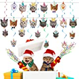 OBSGUMU Cat Party Decorations(47 Pcs),14 Packs Cat Birthday Banner Birthday Cat Garland,24 Packs Cat Cupcake Topper and 9 Pac