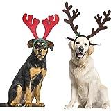 BWOGUE Dog Christmas Elk Reindeer Antlers Headbands Set Pet Christmas Costume Accessories Headwear for Medium Large Dogs