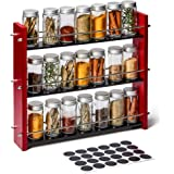EZOWare Wood Spice Rack with 21 Empty Jars and Labels, 3 Tier Freestanding Organizer Shelf Display Stand with Rails for Count