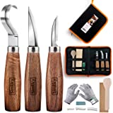 Wood Carving Tools 5 in 1 Knife Set - Includes Hook Knife, Whittling Knife, Detail Knife, Carving Knife Sharpener for Spoon B