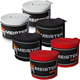 "Meister Adult 180"" Hand Wraps for MMA & Boxing - 3 Pairs Pack, 1022, Black/Red/White"