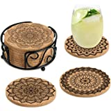 KFK Coasters for Drinks Absorbent Cork Coasters with Holder Housewarming Gifts for New Home Present for Friends,Living Room D