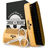 Beard Brush & Comb Set for Men Care - Gift Box & Friendly Bag - Best Bamboo Grooming Kit Great to Distributes Balm or Oil for