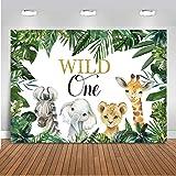 Mocsicka Safari Wild One Backdrop Jungle 1st Birthday Background 7x5ft Vinyl Safari Boy's First Birthday Party Banner Backdro