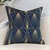Yangest Navy Blue and Gold Gradient Velvet Throw Pillow Cover Geometric Lines Cushion Case Modern Luxury Embroidery Pillowcas