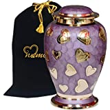 Lavender Hearts Cremation Urn - Purple & Silver Heart Urn - 100% Handcrafted Solid Brass Heart Urn for Human Ashes - Affordab