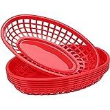 "Plastic Baskets for Food Serving, Eusoar 6Pcs 9.4"" x 5.9"" Fast Food Baskets, Fry Tray, Bread Baskets, Serving Tray for Fast F"