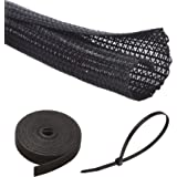 Alex Tech Cable Management, 10ft - 1/2 inch Split Sleeving, 10ft -0.57 inch Reusable Cable Ties, 100 pieces 8 inch Nylon Cabl
