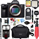 Sony a7III 24.2MP Full Frame Mirrorless Interchangeable Lens Camera Body + 64GB Memory Card & Flash a7III Accessory Bundle