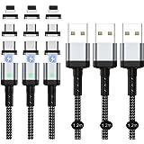 マグネット 充電ケーブル SUNTAIHO 3in1 miniUSBケーブル【1.2Mx3本セット】QC3.0 3A急速充電とデータ伝送 磁石 磁気 防塵 着脱式 iOS マイクロUSB Type-C コネクタ タイプc Micro USB Cabl