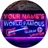 Personalized Your Name Est Year Theme Guitar Room Music Room Dual Color LED Neon Sign Blue & Red 400 x 300mm st6s43-pf1-tm-br