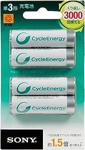 ソニー 充電式ニッケル水素電池 サイクルエナジーシルバー NH-AA-4BRA : 単3形 充電池 4本パック NH-AA-4BRA