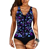 Firpearl Women's One Piece Swimsuits Front Cross Straps Tummy Control Swimwear