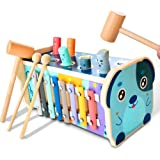 KIDWILL Wooden Hammering Pounding Toy, Educational Pegs Pound Maze Puzzle Number Sorter Musical Toy with Xylophone, Hammers,