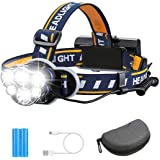 Rechargeable Headlamp TAZLER 12000 Lumens 6 LED 8 Modes USB Rechargeable HeadLight with 2 Batteries, Waterproof LED Head Torc